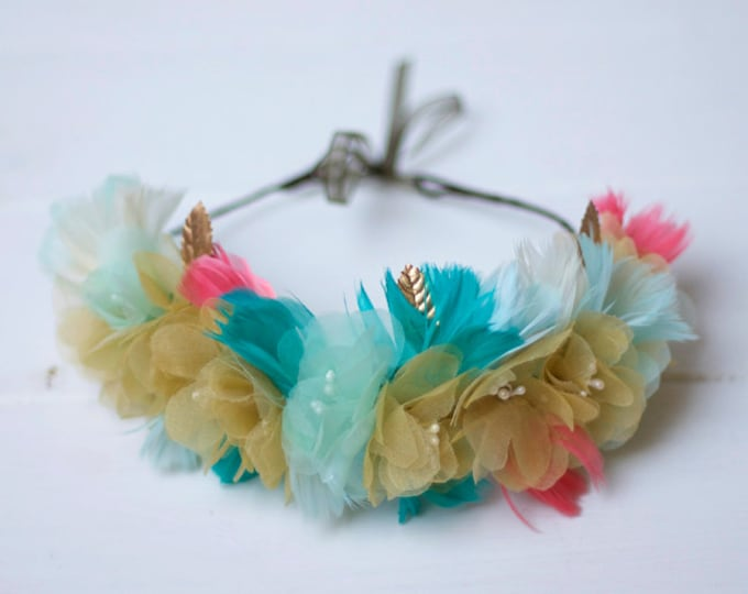 Glasgow - Floral Crown made with flowers, feathers and leaves