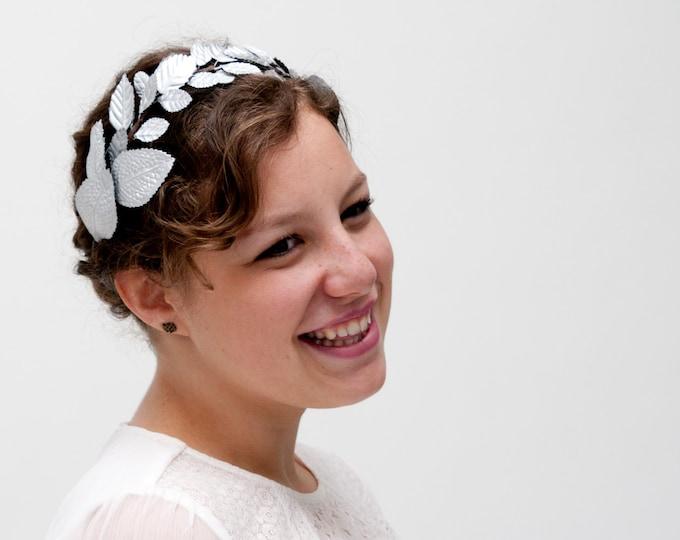 Silver leaf headband, wedding silver crown, silver flower crown, silver leaf wreath, grecian headband, bridal leaf crown, silver hairband