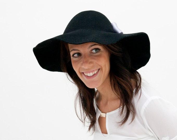 Floppy Black Felt Hat with ribbon, felted hats for women, wide brim black hat, wide brim felt hat, floppy felt hat