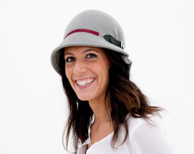 Cloche hat women, Grey felt hats women, 1920s cloche hats, vintage style hat, winter wool felt hat, christmas gift wife