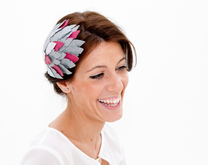 Culzean - Grey and Pink Fascinator made with Felt and Leather
