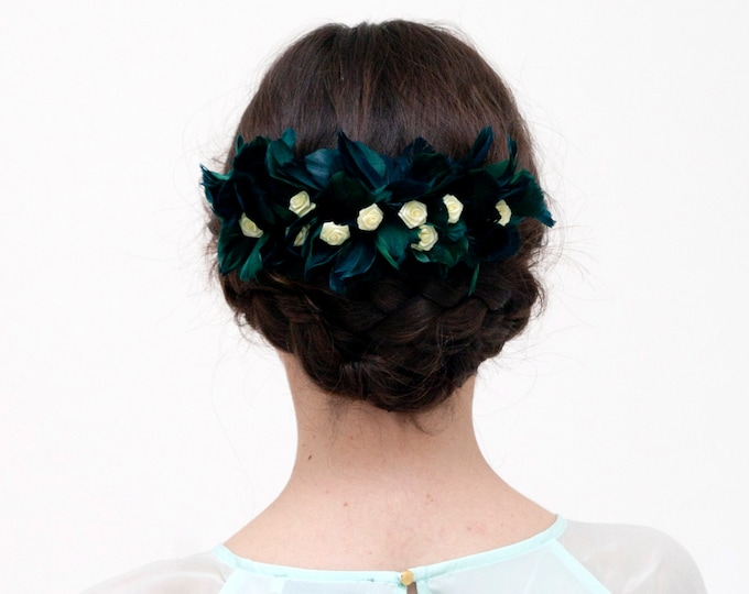 Skye - Green and Yellow Hair comb made with feathers and flowers
