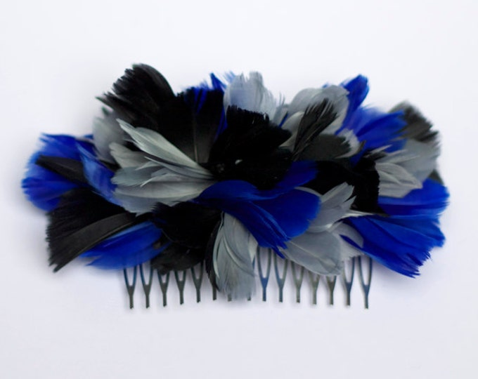 Grey, black and blue Feather Hair Comb, blue feather hair clip, black feather fascinator, blue feather hair piece, black feather headpiece
