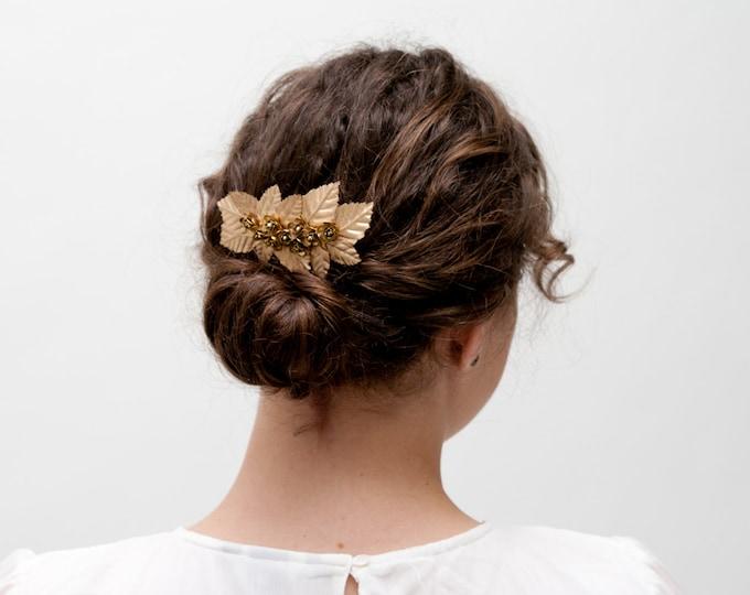 St. Andrews - Bridal gold hair comb, bridal golden hair comb, golden headpiece, bridal flower comb, bride hair accessory, bridal hair piece