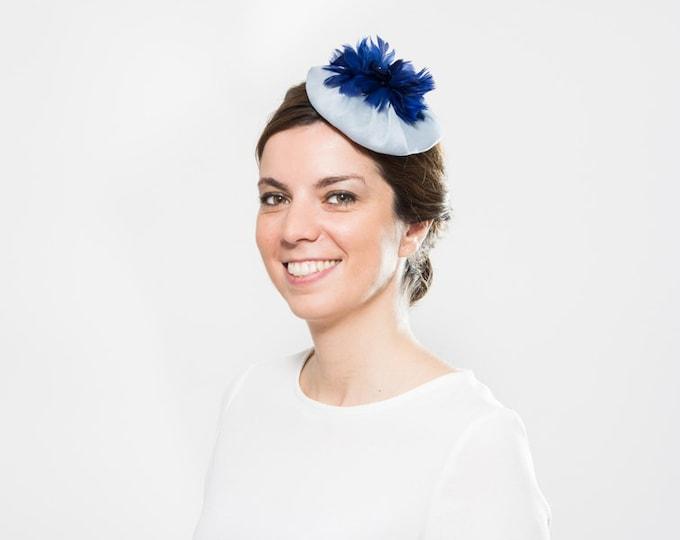 Blue pillbox hat, blue cocktail hat, light blue fascinator for wedding guest, ascot blue headpiece, blue fascinator hat, blue derby hat