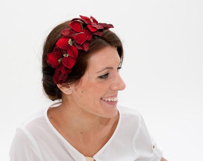 Statement headband, red gift wife, red velvet headpiece, dark red headband, strawberry headband, wine burgundy headband, christmas gift her