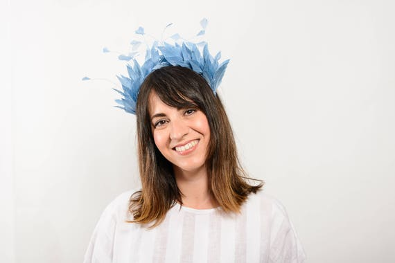 Hellisay Blue Feather Hairband Bridal hairband ballet  de8381691b0