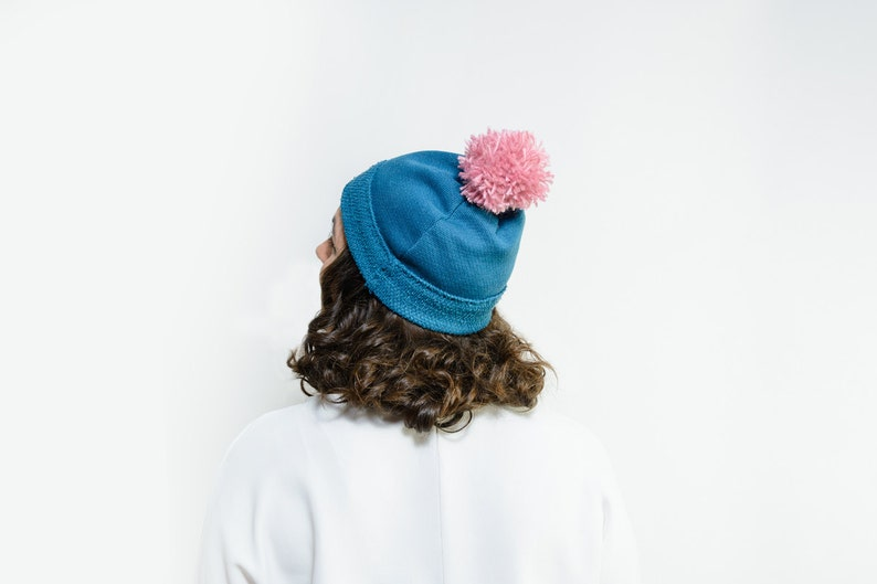 Wallace pom pom beanie hat women winter hat slouchy beanie hat christmas gift pompom slouch hat Blue pompom hat pom pom stocking hat