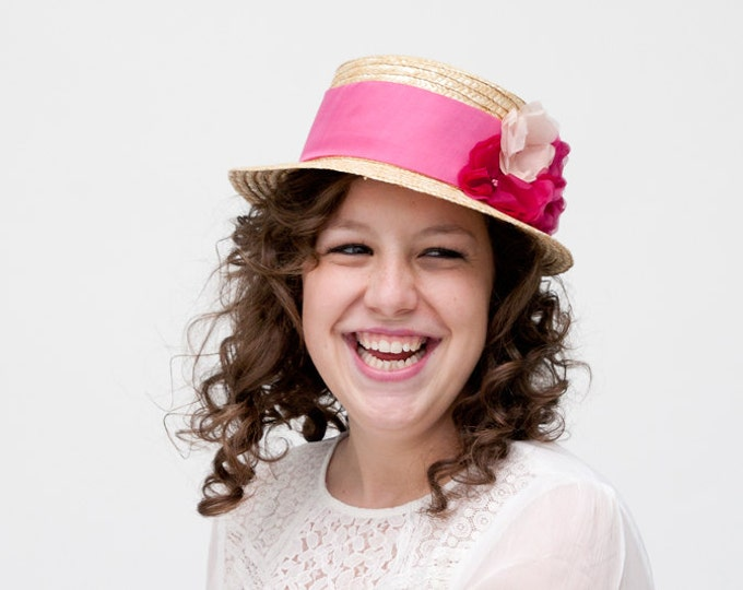 Dunfermline - Straw Boater hat with fuchsia and pale pink silk flowers