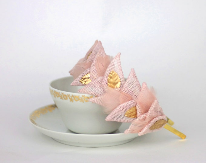 Statement headband, Light pink headband, pink headband fascinator, ballet wedding headpiece, light pink fascinator, wedding hairband
