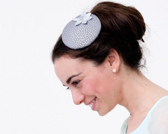 Pillbox hat, silver fascinator, ascot hat, derby headpiece, grey fascinator, grey pillbox hat, wedding guest hat, fascinator hats, grey hat