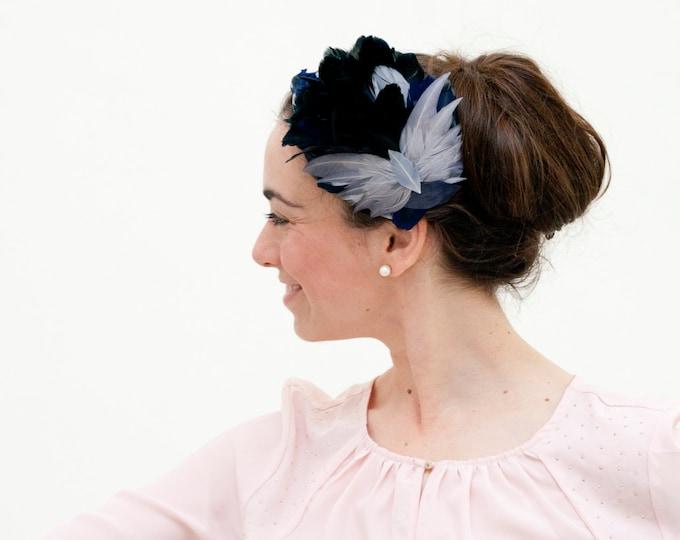 Grey and navy blue fascinator, blue feather fascinator, kentucky, ascot, melbourne derby race hat, blue wedding fascinator hat, headpiece