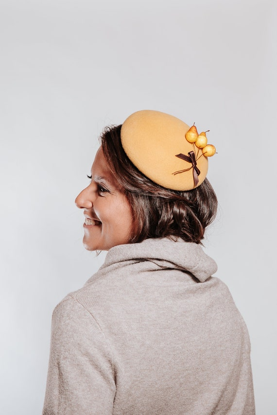 Mustard cocktail hat mustard wedding hat ascot hat pillbox  c93d8ac6517