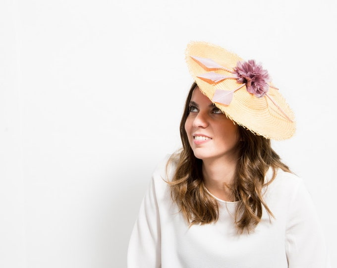 Neilina - Mustard Wedding Hat with Mauve Feathers and a Mauve Feather Flower