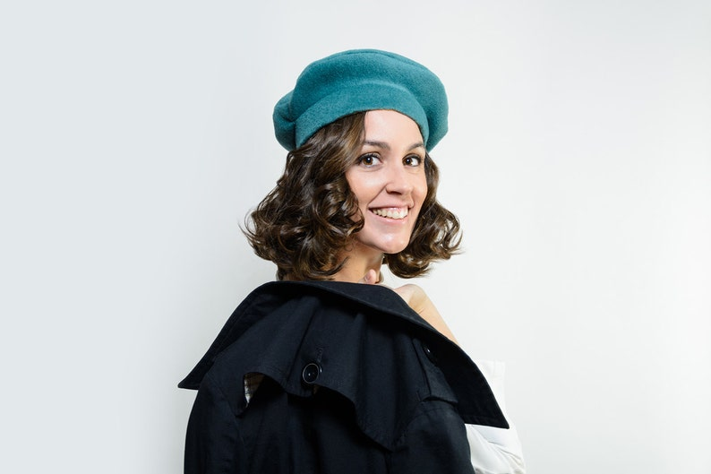 christmas gift for her Sorley french beret hat green blue winter hat green formal hat warm hat green winter hat Winter hat for women