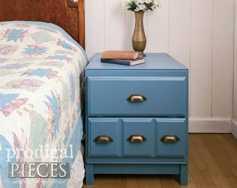 Cabinet Side Table Nightstand in Blue ~ Modern Farmhouse, Boho Chic, Cottage Style Decor