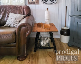 Reclaimed Farmhouse Side Table Nightstand ~ Antique Style, Industrial Chic, Cottage Style Decor