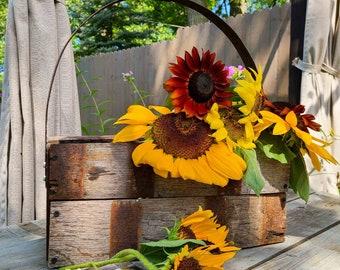 Reclaimed Whiskey Barrel Tote ~ Medium ~ Planter, Centerpiece, Garden, Art ~ Rustic Farmhouse, Cottage Home Decor
