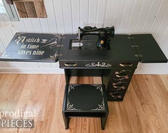 Vintage Art Deco Sewing Desk Set with Bench ~ Farmhouse, Boho, Cottage Home Decor