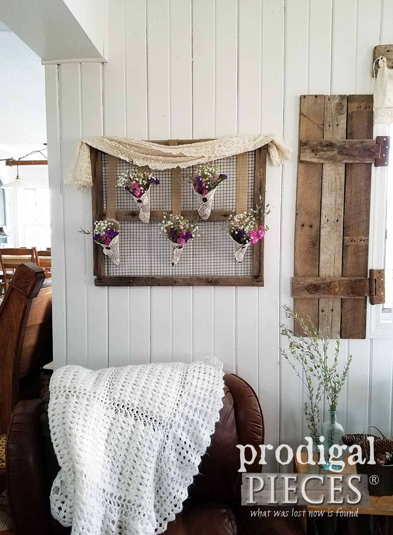 Farmhouse Wall Decor Burlap And Vintage Doilies On Barn