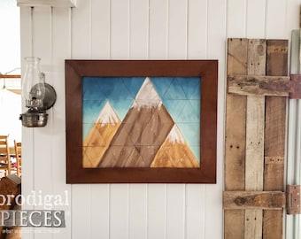 Rustic Mountain Wall Art Painting ~ Geometric Art ~ Farmhouse, Cottage Chic Home Decor