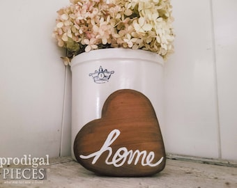 """Modern Farmhouse Wooden Heart with """"Home"""" ~ Rustic, Cottage Chic Style Decor"""