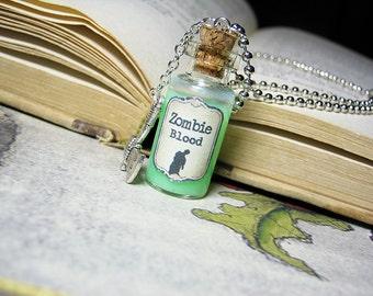Zombie Blood Glow in the Dark Glass Bottle Necklace Charm - 2ml Cork Vial Charm - Walking Dead Halloween