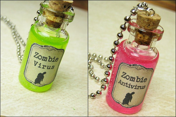 Zombie Virus Necklace Halloween Jewelry  Biohazard Spill  Walking Dead Gift  Healing Potions  Magic Potions