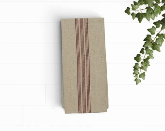 Grain sack kitchen towel, red stripes,feed sack tea towel, dish towel, hand towel, bar towel, linens, kitchen and dining, farmhouse