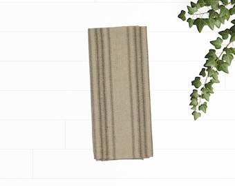 Grain sack kitchen towel, tan stripes, feed sack tea towel, dish towel, hand towel, bar towel, linens, kitchen and dining, farmhouse
