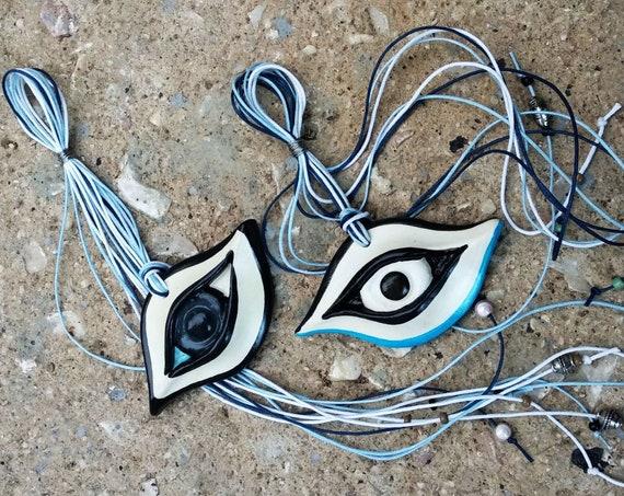 CERAMIC EYES/ Lucky Charm / Cubism Inspired / Avant-Garde Art