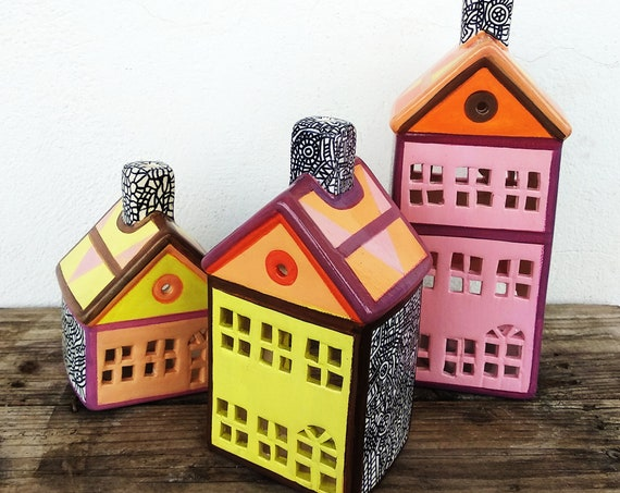 Ceramic Houses Tealight, Set of 3 Ceramic Houses, Ceramic Tealight Candle Holder, Handpainted Ceramic Houses (EXPRESS FREE SHIPPING)