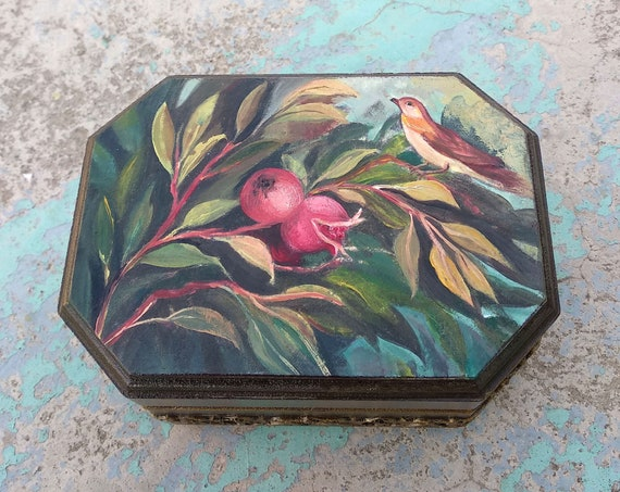 Wooden Box, Wooden Crates, Wooden Storage Boxes, Wooden Keepsake Box, Memory Box, Keepsake Box, POMEGRANATE, The Painted Garden