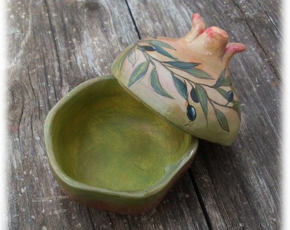 Pomegranate - Handpainted Pomegranate - Olive Branch - Ceramic Pomegranate - Ceramic - Ceramic Pottery - Home Decor - Home Decoration