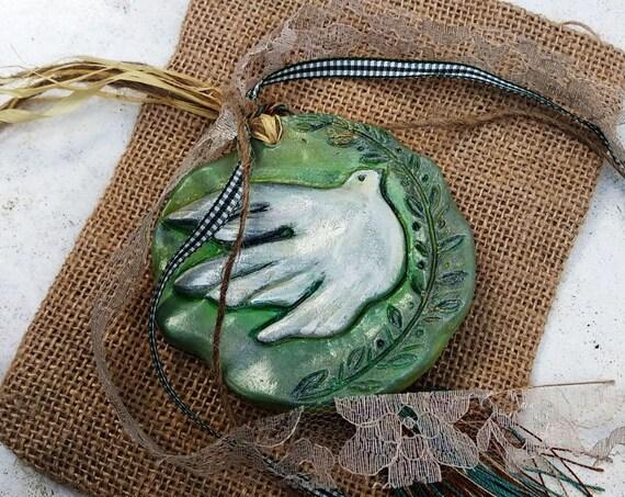 Ceramic Bas Relief Tile/ Dove Figurine /  Lucky Charm / Good Luck Charm