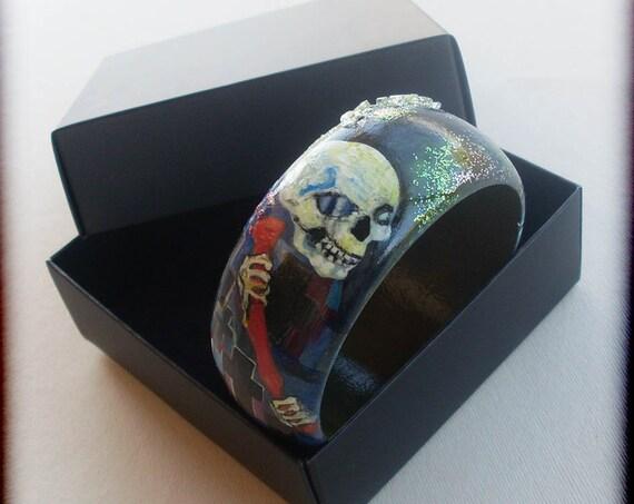 Bracelets, Bangles, Charms, Charm Bracelets, Handpainted, Hand painted, Wooden Bracelet, Wooden Bangle, Art nouveaum, DEATH, Klimt