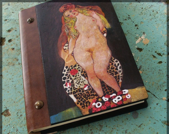 Notebook, Wooden Notebook, Custom Notebook, Journal Notebook, Writing Journal, Sketchbook, Custom Sketchbook, Art Nouveau, Adam and Eve