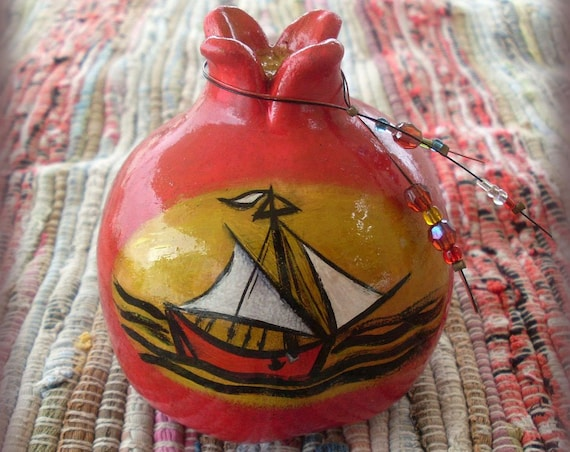 Pomegranate - Handpainted Pomegranate - Sailor Boat - Ceramic Pomegranate - Ceramic - Ceramic Pottery - Home Decor - Home Decoration