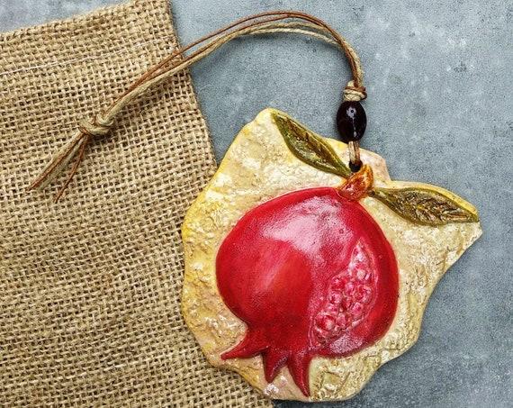 Ceramic Pomegranate Tile / Pomegranate Lucky Charm / Good Luck Charm