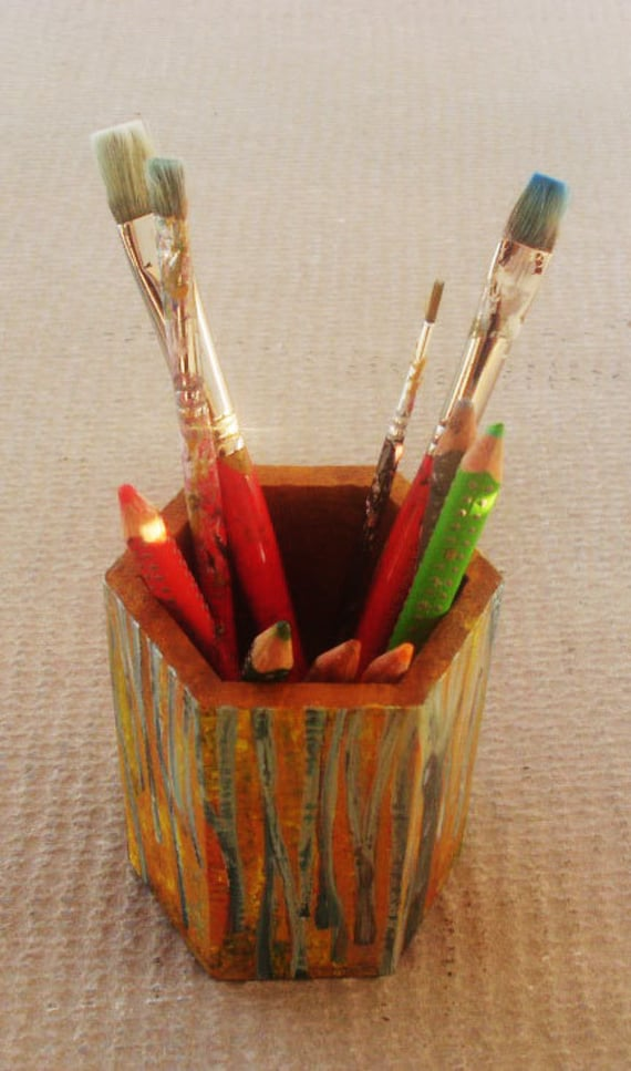 "Pencil Holder - Wooden Pencil holder - Pencil Case -  Pencil Box - Pencil Holder For Desk- - Pencil Drawing - Hand painted ""Beech Forest"""