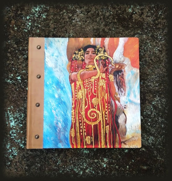 "Photo Books, Photobook, Photo Album, Photo Album Book, Wooden Photo Album, Totally Handmade Album, ""HYGEIA GODDESS"" -  KLIMT"