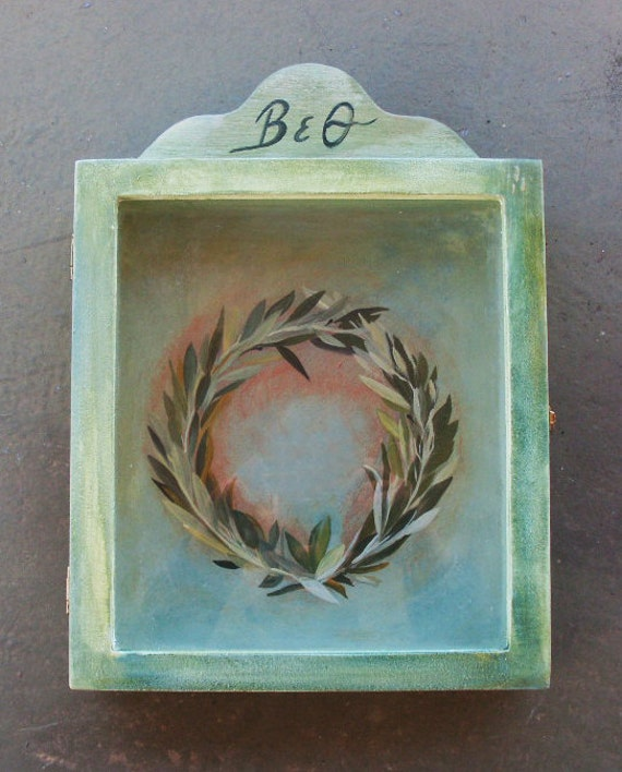 OLIVE WREATH - Wedding Crown Display Box - Wooden Display Box - Display Box - Display Case - Glass or Acrylic - Cabinet - Stefanothiki