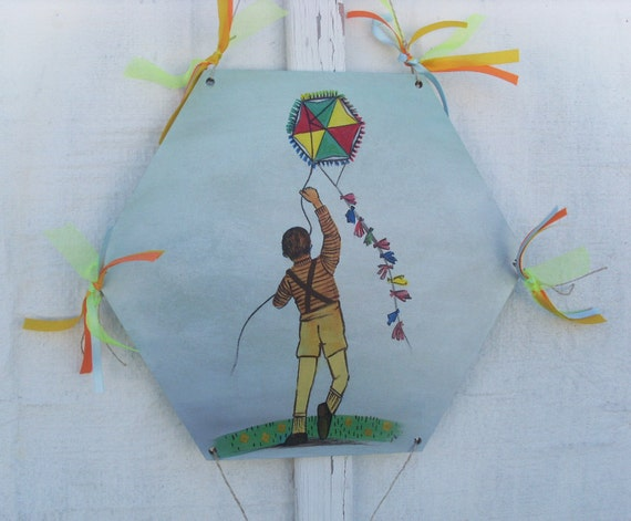 Kid Flying Kite - Home Decor - Kite - Wooden Kite - Wall Hanging - Wooden Wall Hanging