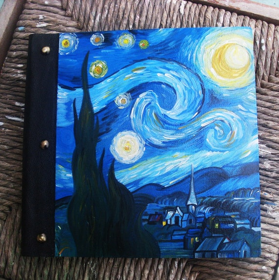 Photo Books, Photobook, Photo Album, Photo Album Book, Wooden Photo Album, Totally Handmade Album, The Starry Night