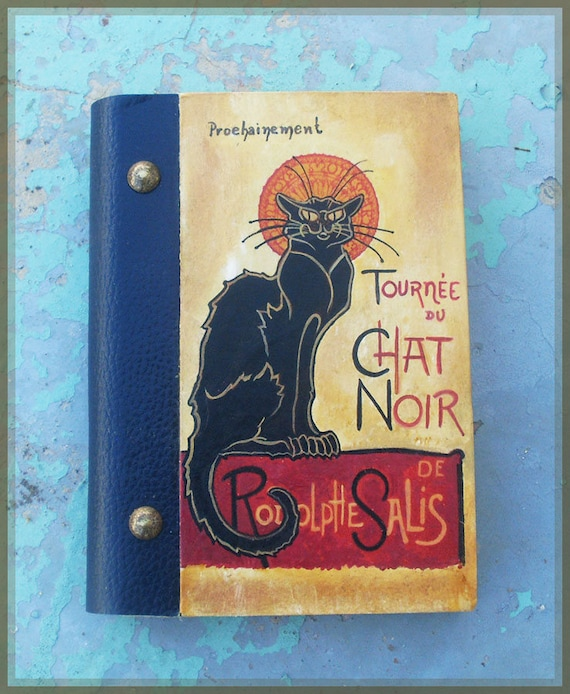 Notebook, Wooden Notebook, Custom Notebook, Journal Notebook, Writing Journal, Sketchbook, Art Nouveau, Tournée de CHAT NOIR