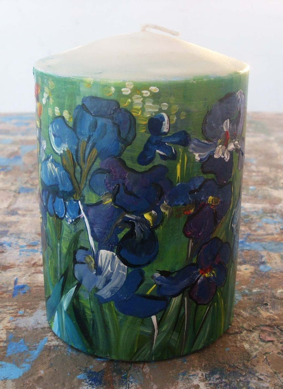 Candle - Round Pillar Candle - Vanilla Scented Candle - Ecofriendly - Handpainted - IRISES