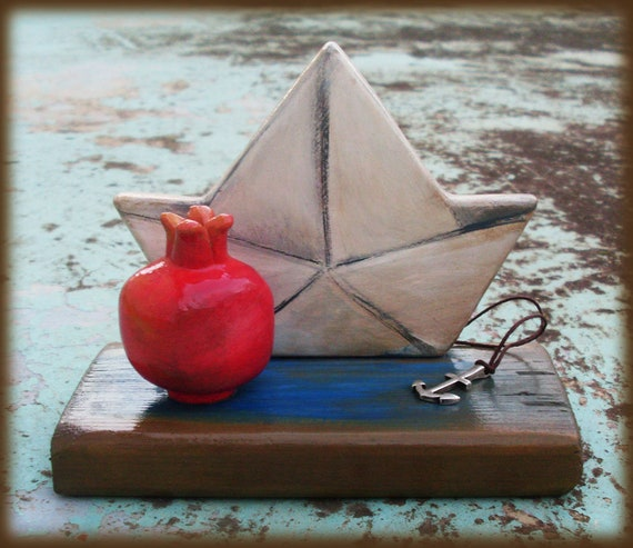 Pomegranate - Paper Boat - Handpainted Ceramic Decor - Ceramic - Ceramic Pottery - Home Decor - Home Decoration