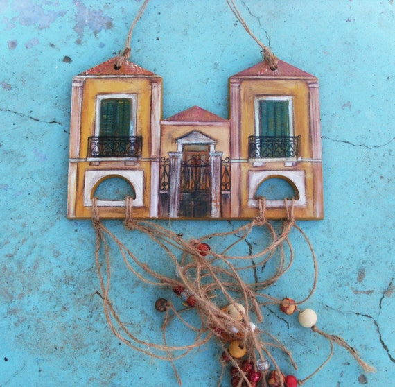 Neoclassical Inspired House  - Home Decor - Wall Hanging - Wooden Gift - Wooden Cutout - Wooden Cutting Board