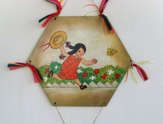 Little Girl Chasing Butterflies - Home Decor - Kite - Wooden Kite - Wall Hanging - Wooden Wall Hanging