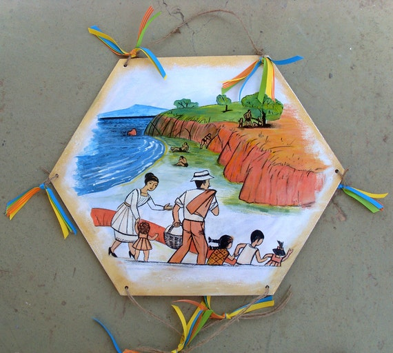 Going to the beach - Home Decor - Kite - Wooden Kite - Wall Hanging - Wooden Wall Hanging